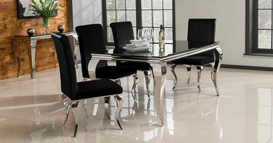 Wilkinson Furniture Louis 160cm Dining Table in Black  : LouisDining from www.furniture123.co.uk size 950 x 500 jpeg 43kB